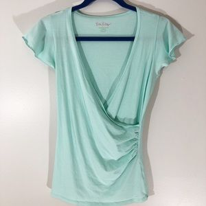 Lilly Pulitzer Mint Green Cross Front Tee